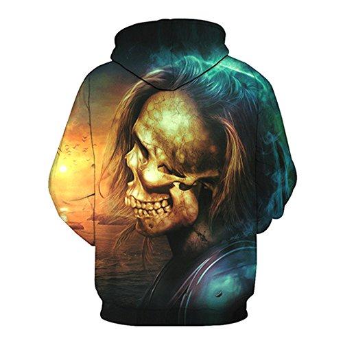 Schädel Hoodie Unisex: glücklich, 3D Print Skelett, Schädel, Horror, Tattoo Design Style X1