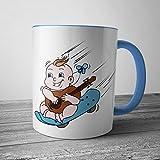 Lustige FUN Tasse für Jungs - Babyboy mit Gitarre auf Skateboard - Handgezeichnet