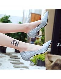 Xue Qiqi Zapatos silvestre fresca pequeña hembra alta Heel Shoes 5cm de grosor y con lady zapatos, con la punta...
