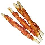 Hähnchenfilet Stangen 600g Schonend getrocknet fettarm gut bekömmlich der Kauknochen für Hunde aus Büffelhaut umwickelt mit frischem Hähnchenfilet Fleisch Dörrfleisch
