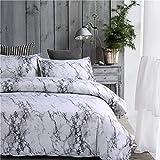 Lanqinglv Bettwäsche Grau & Weiß 135x200cm 2 Teilig Marmor Muster Bettbezug mit Reißverschluss und 1 Kissenbezug 80x80cm Schließung Bettwäsche Set für Jungen und Mädchen (GY,135)