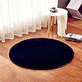 linyingdian 120cm (4-Feet) Runde Teppiche super weiches Wohnzimmer Schlafzimmer Home Shag Teppich (Schwarz)