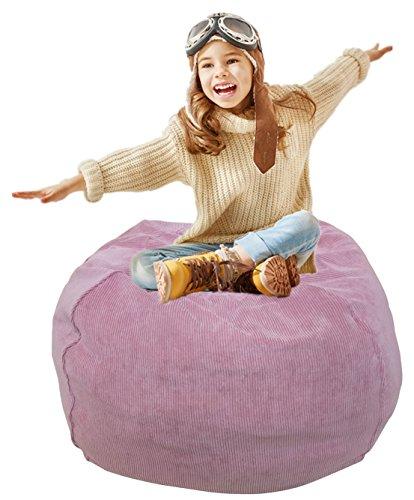 Stofftier Speicher Sitzsack Stuhl | Extra langer Reißverschluss gefüllte Aufbewahrungstasche | Kinder Sitzsack | Stofftier-Aufbewahrungsbeutel | Premium Cord Pink - 30