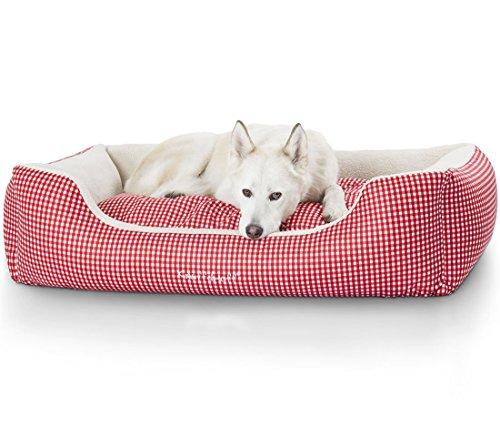 Knuffelwuff 13100 Kuschel Hundebett Lina Karo - Größe XL, 105 x 75 cm, rot