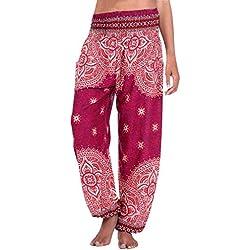 SANFASHION Pantalons Femmes, Portent des Combinaisons de Couleur Unie Poches Pantalon Sarouel décontracté en Coton Grande Taille ete Palge Mode Rouge Florale, 3XL