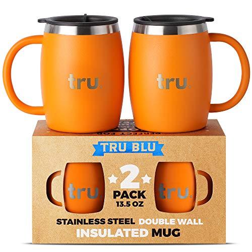Tru Blu Steel Isolierte Kaffeetasse mit Deckel (2er Set) - Edelstahl Camping Tasse mit Henkel, Doppelwandiger Metall Becher - BPA-frei, Bruchsicher, Spülmaschinenfest (400 ml) Camping-tasse