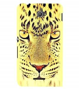 Nextgen Designer Mobile Skin for Sony Xperia E4 :: Sony Xperia E4 Dual (Cheetah Cheetah Eyes Fiery Look Spots Cheetah Face)