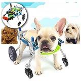 Pet sedia a rotelle Carrello per carrozzella in alluminio per cani da compagnia per pedane per disabili Passeggiate a 4 ruote Modello regolato Altezza della sedia a rotelle 1-3kg XXS Più dimensioni di