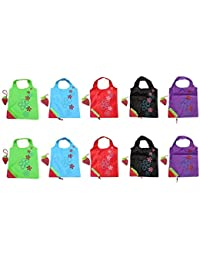 BONAMART 10 Newly Assorted Colors Strawberry Reusable Foldable Shopping ECO Bags With Pouch Shoulder Tote Wholesale