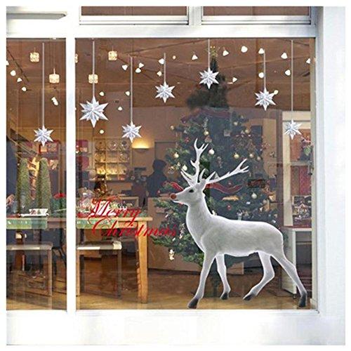 Autoadesivo, SW Christmas Natale Decorazione Cervi Rimovibile Parete Adesivo Arte Casa Decor Decalcomania - Pannello Di Vetro Del Pannello Della Finestra