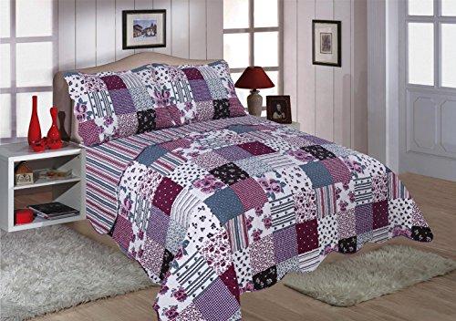 Restmor Tagesdecke Steppdecke mit Quilt Patchwork Design, Zweiseitig - Gesteppter Bettüberwurf - Erhältlich in 3 Größen mit Kissenbezug - Freya (Single inkl. 1 Kissenbezug)