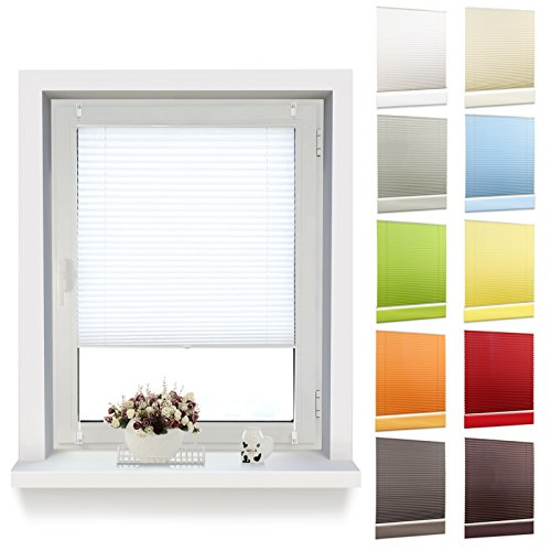 Price comparison product image oubo Pleated Blind with 'Klemmfix' Clamps (No Drilling Necessary Privacy Clamps for Windows, White, 35 x 120 cm
