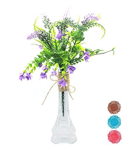 coisound 1688 Hand Made Creative Dekorative Ornament Transparent Farblos Glas Vasen (3St Vase Kissen und Hanf Seil Sind Enthalten) (In Billig Kissen Bulk)