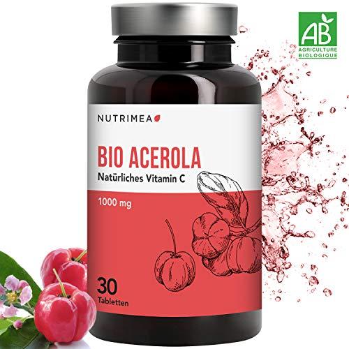 Acerola Kirsche BIO - Natürliches VITAMIN C - vegane Pulver/Tablette Frucht-Extrakt hochdosiert 1000 mg