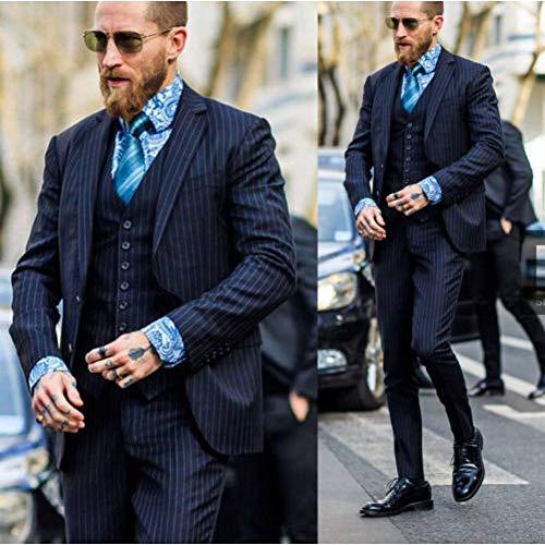 Kostüm Homme Mariage Slim - GFRBJK One Button Fashion Bräutigam Smoking Best Man Herren Hochzeitsanzug Slim Prom Kleid 3 Stück (Jacke + Hose + Weste) , wie Bild , Xs