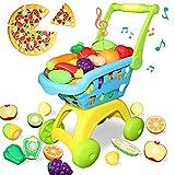 Buyger 26 Pezzi Giocattolo di Taglio Frutta Verdura Carrello della Spesa Cibo Finti Alimenti Gioco di Ruolo Cucina Educativi per Bambini