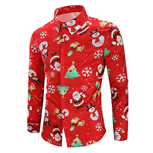 CHARMMA Herren Hemd Weihnachten Thema Knöpfbar Langarm Stehkragen Shirt (Rot 2, M)