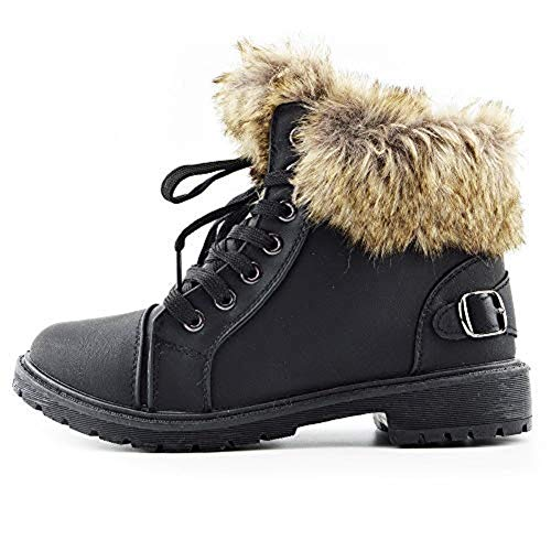 Shop Online Womens Faux Fur Ankle Boots Ladies LACE UP Collar Fur Lined Winter Warm Ladies Ankle Boot Trainer Size 3-8