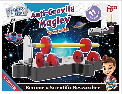 Popsugar 7 in 1 Science Fun Projects Educational DIY Science Kit for Kids | Anti Gravity, Maglev Train Concepts, Multicolor
