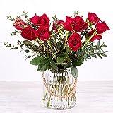 Flores Frescas Florachic - 12 Rosas Rojas con jarrón rústico - flores enviadas directamente del campo a tu casa