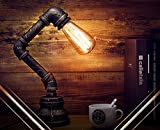 YuensGroup National Vintage Industrial Style Rustic Table Lamp(Without LED Glass Bulbs Light), Water Pipe Arm Lighting Fixture,Black Cord,Iron Stand,E27 Holder Kit Set Lamparas,Living Room,Bedroom Lamps Replacement