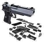MAKFORT Kinder Pistole Spielzeug DIY Kunststoff Gun Spielzeugpistole Schalldämpfer für 9-Schuss-Munition, 23.5 cm, Schwarz