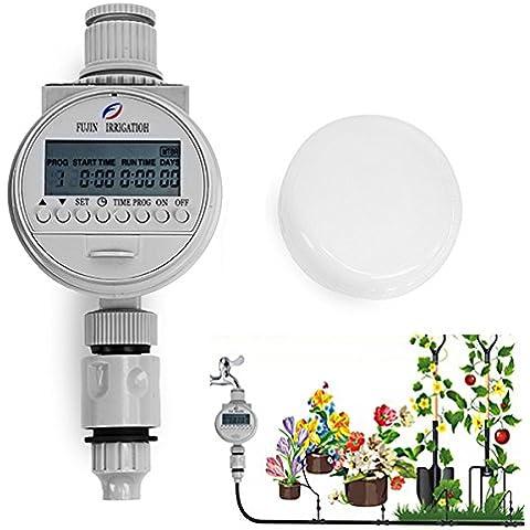 Bluelover Controlador de riego el ahorro de agua solar energía automático temporizador inteligente jardín