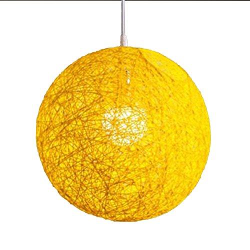 Moderne Gitter (Behavetw Modern Klein Cremefarben Gitter Rattan Globe Ball Style Anhänger Deckenleuchte Licht Lampenschirm für Bar, Schlafzimmer, Hotel, Kirche, 15cm, Gelb)