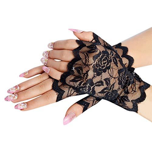 Floral lace fingerless damen elegant style sun protection accessories hollow-out wedding gloves handschuhe sexy für Weihnachten fancy dresses hen night party hochzeit - Floral Lace Wedding Dress