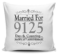 Idea Regalo - UCG Married per.Giorni e conteggio. Argento (°) a Forma di Cuscino W/Insert