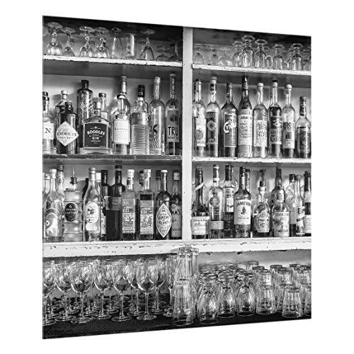 Bilderwelten Spritzschutz Glas - Bar Schwarz Weiß - Quadrat 1:1, HxB: 59cm x 60cm -
