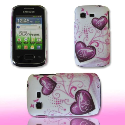 Handy Tasche Hard Case Cover Samsung GT-S5300 Galaxy Pocket / Handytasche Schutzhülle Herz M1