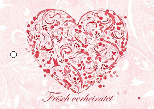 55 rosa Ballonkarten BLUMEN-HERZ mit floralem Herzen - Ballonflugkarten für die Hochzeit, extra leicht, wetterfest und schon vorgelocht von Edition Colibri (Set 18)