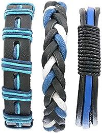 MJARTORIA Herren Armband Set Lederarmbänder Geflochten Seil Armreifen aus Leder Größe Verstellbar 3 Stück (3 Stück Blau Schwarz)