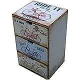 Mobili Rebecca® Cajonera Pequeña Mueble Auxiliar 3 Cajones Mdf Pvc Blanco Estilo Decapado Baño (Cod. RE4836)
