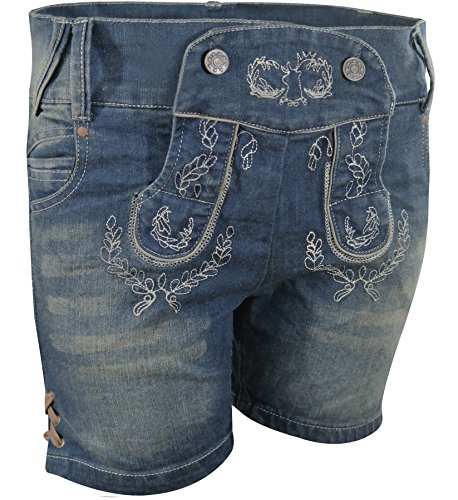PAULGOS Damen Trachten Jeans in Optik Trachten Lederhose Kurz Blau, Damen Größe:38