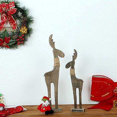 K&C hölzerne Standing Deer Statue Hölzerne Rentier Rustikale Weihnachtsverzierung (Machen Elf Kostüme)