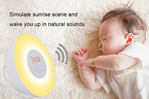 Lichtwecker, Wake-up Light, Aufwachen mit Licht, 6 natürlichen Wecktöne, Sonnenaufgang Sonnenuntergang Simulation, Schlaflicht, Kinderwecker mit FM Radio Funktion, von AGPTEK, Weiß - 5