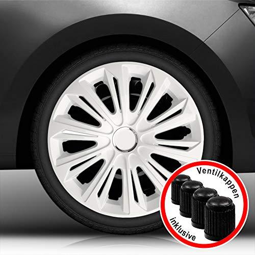 Autoteppich Stylers Aktion Bundle 16 Zoll Radkappen/Radzierblenden 006 Weiss (Farbe Weiß), passend für Fast alle Fahrzeugtypen (universal)