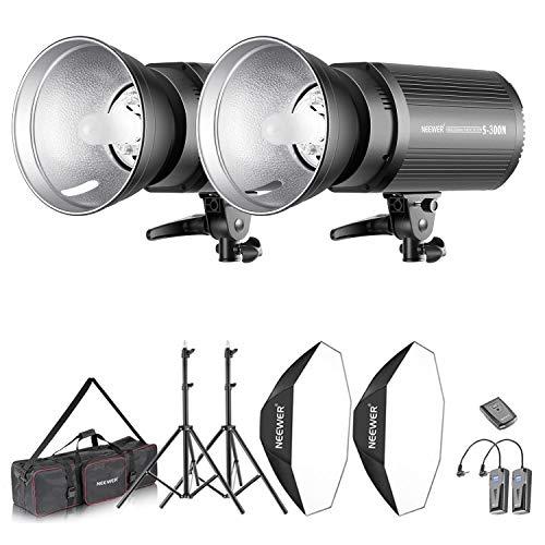 Neewer 600W Fotostudio Strobe Flash und Softbox Beleuchtung Kit: Monolicht Flash Reflektor Bowens Montage Lichtständer Softbox Modelllampe RT-16 drahtloser Auslöser Tragetasche