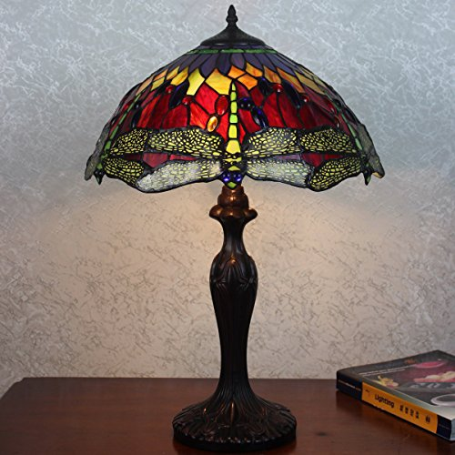 Girarde Red & Green Dragonfly Traditional Art Deco Tiffany Style Stained Glass Table Lamp 16
