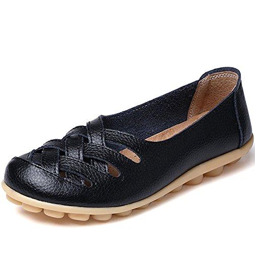 lovejin Damen Bootsschuhe Barfußschuh Weichen Leder Flache Schuhe Bequeme Fahr Schuhe Hohlen Freizeit Flache Schuhe, 41 EU,  Schwarz -