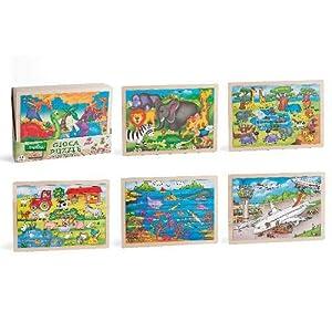 Globo Juguetes Globo-3655640x 30cm 6Surtidos Legnoland-Puzzle de Madera (48Piezas)