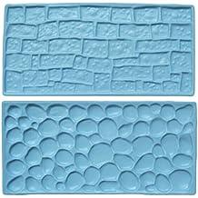 LYNCH 1Set Piedra y ladrillo Cake Fondant Mold Cookware Pastel de Decoración Molde de Fondant Azúl