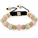 Morella pulsera con perlas de piedra y piedras de circonita Strass de color oro-rosa, ajustable, para damas