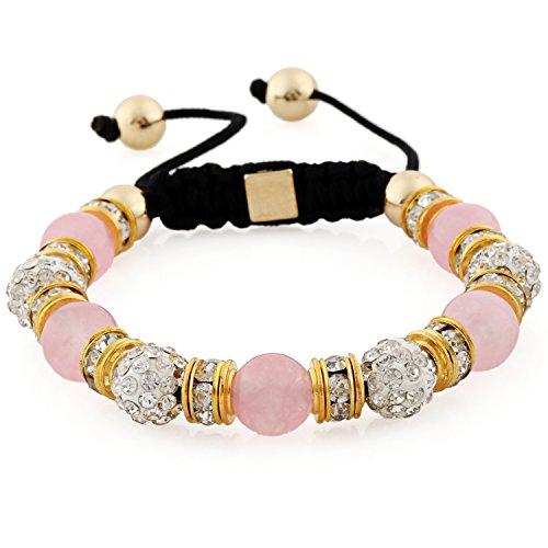 Morella® Damen Armband Steinperlen und Zirkonia Strass verstellbar Gold - rosa
