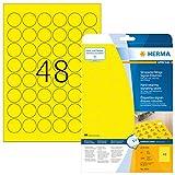HERMA 8034 Wetterfeste Folien-Etiketten DIN A4 (Ø 30 mm, 25 Blatt, Polyesterfolie, matt, rund) selbstklebend, bedruckbar, extrem stark haftende Outdoor Signal-Etiketten, 1.200 Klebeetiketten, gelb