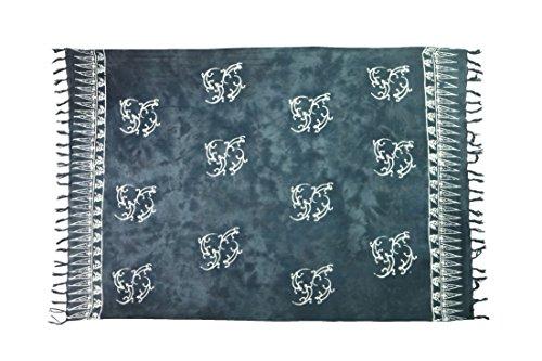 Exclusiv Originale Handarbeit von Ciffre Sarong - Große Auswahl hochwertiger Strandtücher aus Bali Indonesien - Viele Farbe - Pareo Designy by EL-Vertriebs GmbH SJ4 Gecko M1