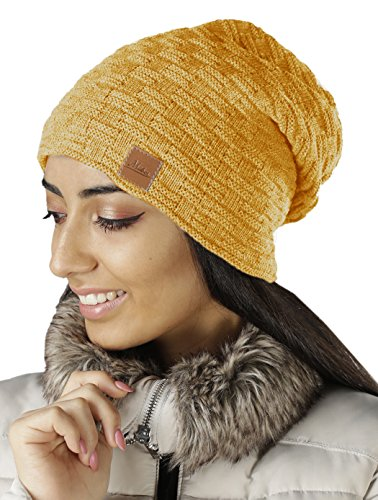Mikos | Damen Frauen Mütze | Flecht Muster Warme Feinstrick Beanie | Mütze-Damen...