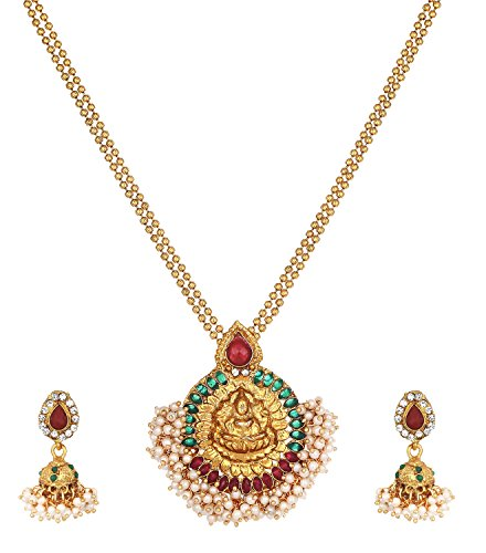 Zeneme Maa Lakshmi Red & Green Pearl Metal Strand Necklace Pendant With Drop Earring Jewellery For Women / Girls